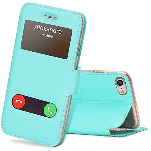 FYY Hülle für iPhone se 2020/ iPhone 7 Handyhülle,Tasche Hülle Flip Hülle Leder Schutzhülle Ledertasche Cover, mit Ständer/Magnetverschluss Hülle für iPhone 7 Handytasche -Mintgrün