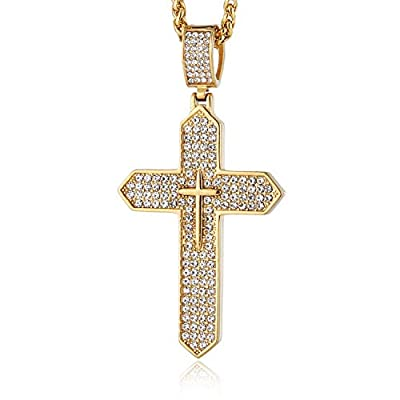 """HZMAN Mens Iced Out Cross Cz Inlay Pendant 18k Gold Plated Stainless Steel Hip-Hop Necklace 24"""" Silver"""