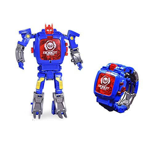 YIY Toy Watch Transformers Toys Kids 2 in 1 Electronic Transformers Toys Watch Deformed Robot Manual Transformation Robot Toys Children's Gift 3-6 Ages(Blue)