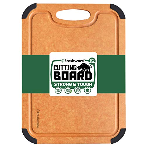 Cutting Board for Kitchen Dishwasher Safe, Wood Fiber Cutting Board, Eco-Friendly, Non-Slip, Juice Grooves, Non-Porous, BPA Free, Medium Cutting Board, 14.6 x 11-inch, Natural Slate