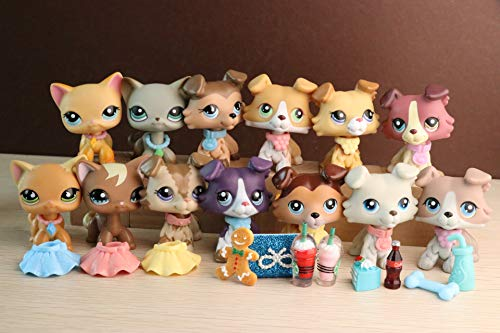 YWH lps Collies and Shorthair lot 13pcs, lps 2452 2210 893 1262 363 1676 58 67 391 339 2291 1170 Rare Figures with lps Accessories Lot Kids Gift