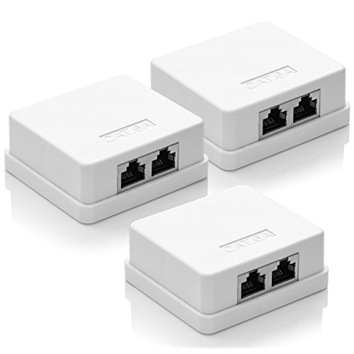 deleyCON 3X CAT 6a Netzwerkdose 2X RJ45 Buchse FTP geschirmt Aufputz Montage 10 Gbit Ethernet Netzwerk LAN Dose RAL 9003 Weiß