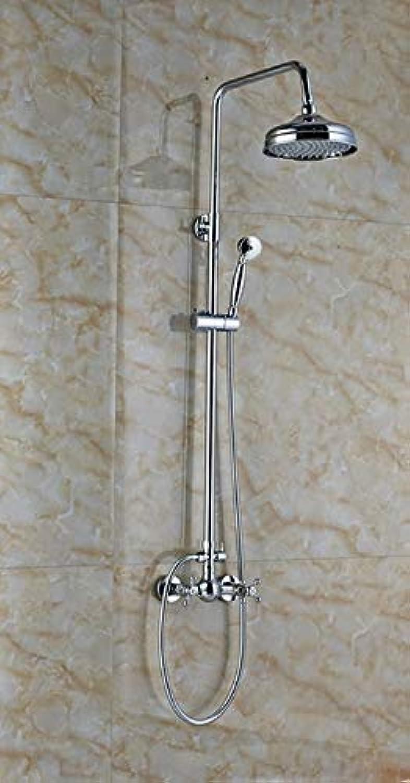Billiger Wandmontage Badezimmer Dusche Mischbatterie Set Zwei Griff Messing Handbrause 8 Regendusche Wasserhhne System, Stil B