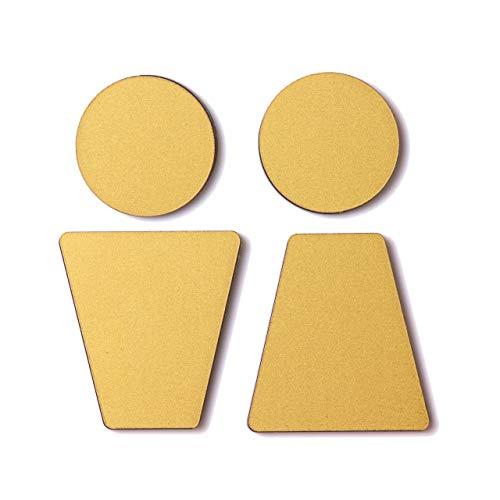 トイレサインプレート C 真鍮風 (ゴールド) 屋外対応 ステンレス調 トイレマーク ピクトサイン ドアプレート サインプレート 金属風 シール式 日本製