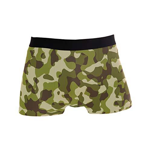 BONIPE Camouflage-Grün Armee-Muster Boxershorts Herren Unterwäsche Jungen Stretch Atmungsaktiv Low Rise Trunks S Gr. L, mehrfarbig