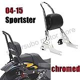 Barra sissy de la motocicleta sportster cromo Respaldo del pasajero harley Cojín para Harley Sportster XL883 1200 48 04-15…