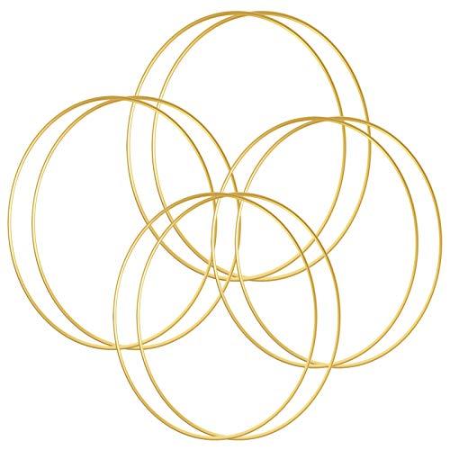 Sntieecr 8 PCS 20 cm Gold Metall Floral Reifen Kranz Makramee Gold Reifen Ringe für DIY Floral Makramee Reifen, Hochzeit Kranz Dekor, Traumfänger und Makramee Wandbehang Handwerk