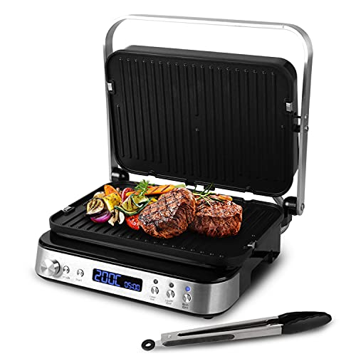 Artestia Electric Indoor Searing Grill-Electric Griddler of Cooking Gifts,1600W smokeless grill indoor with Removable Plates, Multifunction Press Sandwich Maker Kitchen Essentials for New Home