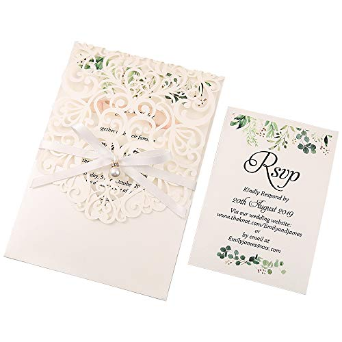 DreamBuilt 5X7.2 Inch 50PCS Blank Laser Cut White Wedding Invitations With Rsvp Cards And Envelopes And Ribbon Belly Band Pearl Embellishments Wedding Invitation Cards For Wedding Invite