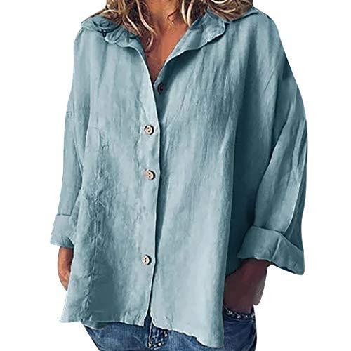 Shinehua Linnen blouse dames lange mouwen linnen shirt blouse casual herfst button down tops losse blouses zomer t-shirt feestelijke blousenshirts hemden elegante hemdblouse Large blauw