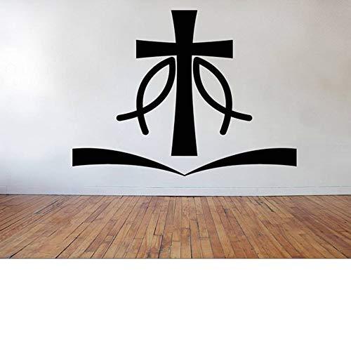 JXND Pez Cruz Pegatina de Pared artículos Cristianos Pegatina de decoración Vinilo extraíble decoración de la Pared de la Sala de Estar calcomanía de Pared 92X68 CM