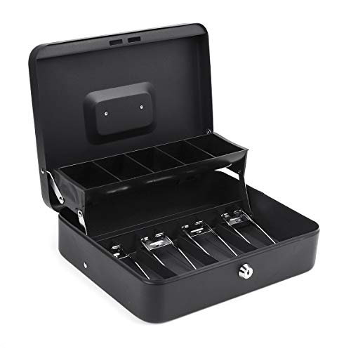 DyNamic 4 Bill 5 Coin Cash Drawer Tray Storage Box For Cashier Money Security Lock Safe Box