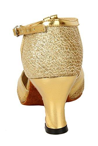 Honeystore Damen's Geschlossene Zehe T-Riemen Glitter Tanzschuhe Gold 6 UK - 3