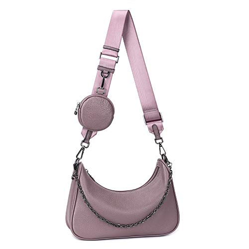 YALUXE Umhängetasche Damen Echtleder Mode Multi 2 in 1 Reißverschluss Handtaschen mit Münzetasche Lila