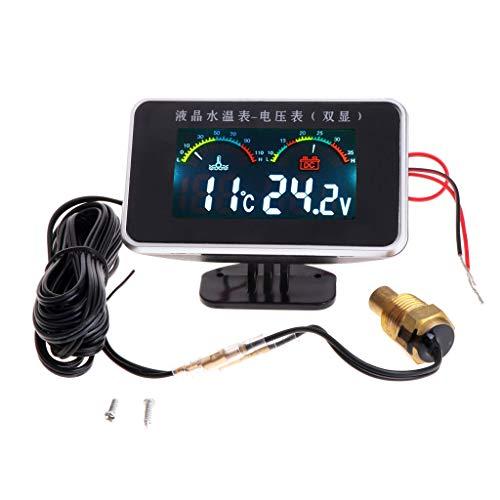 12 V/24 V Auto LCD Wassertemperaturmessgerät Thermometer Voltmeter 2in1 Temperatur & Spannung Meter 17 mm Sensor