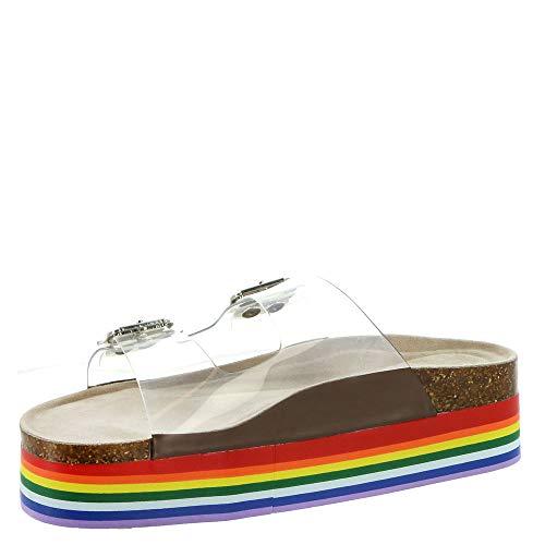 Madden Girl 女款彩虹底透明鞋面凉鞋