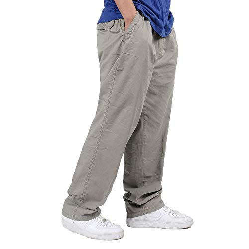 Pantalones de Pierna Recta para Hombre Pantalones de Pierna Ancha Sueltos de Color sólido Pantalones Casuales de Gran tamaño Pantalones Cargo clásicos básicos de Todo fósforo 5X-Large