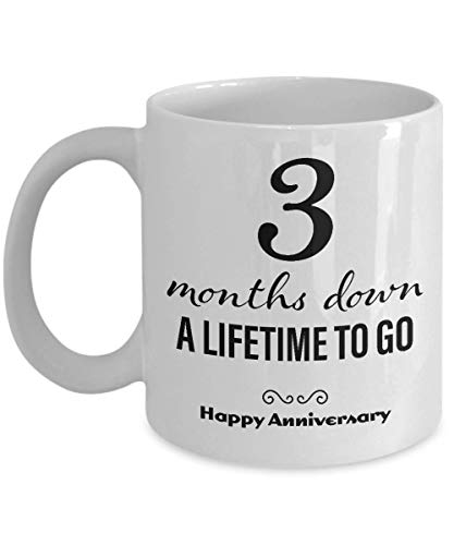 3 Month Anniversary for Boyfriend - Three Month Anniversary for Girlfriend - Happy Anniversary Coffee Mug for Him Her Men Women Couple Friend Lesbian Gay Long Distance