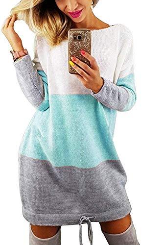 Kneris Sudadera Cuello Redondo Mujer Mini Vestido Sweatshirt Otoño Invierno Patchwork Manga Larga