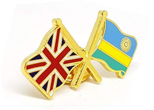 Anstecknadel mit Freundschaftsflaggen von Rwanda & Britische Flaggen, Union Jack, ca. 28 x 15 mm, anlaufgeschützt, Schmetterlingsverschluss
