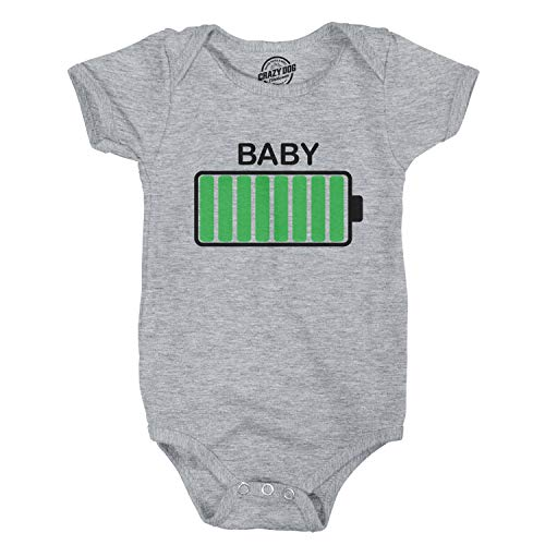 Crazy Dog Tshirts - Baby Battery Fully Charged Funny Newborn Infant Creeper Bodysuit for Newborn (Heather Grey) - 6 Months - Baby-Enfant