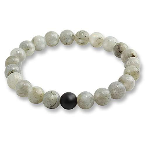 Braccialetti di Beads Bracciale Pietre Naturali Perle Bracciali Pietra Lavica Bangles Bracciale Alabastro ( Color : Glitter Black , Size : One Size )
