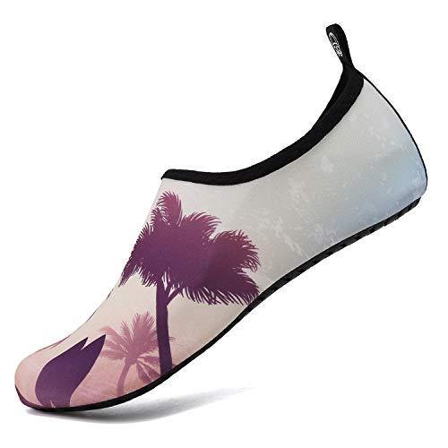 Calzado para Agua Descalzo, de Secado rápido, sin Cordones, Calcetines acuáticos para Yoga, Playa, Surf y natación(Árbol Coco,42-43 EU)