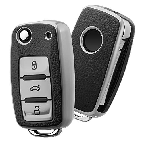 Autoschlüssel Hülle VW,VW Golf Schlüsselbox,Schlüsselhülle Cover für vw Polo Passat Skoda Seat 3-Tasten (Silber-Leder)