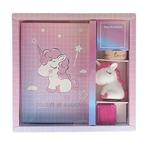 INCA. Juego de papelería niña. Unicornio rosa. Incluye: Cuaderno unicornio + Cinta adesiva LOVE + Sello unicornio + Tinta. Diario secreto niña. Regalo niña