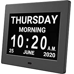 HUANUO Digital Calendar Alarm Day Clock - with 8 Large Screen Display, am pm, 5 Alarm, Dementia Clocks for Alzheimers Sufferers Elderly Seniors Memory Loss Impaired, for Desk, Wall Mounted(Black)