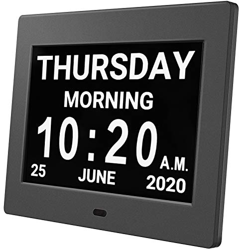 """HUANUO Digital Calendar Alarm Day Clock - with 8"""" Large Screen Display, am pm, 5 Alarm, Dementia Clocks for Alzheimers Sufferers Elderly Seniors Memory Loss Impaired, for Desk, Wall Mounted(Black)"""