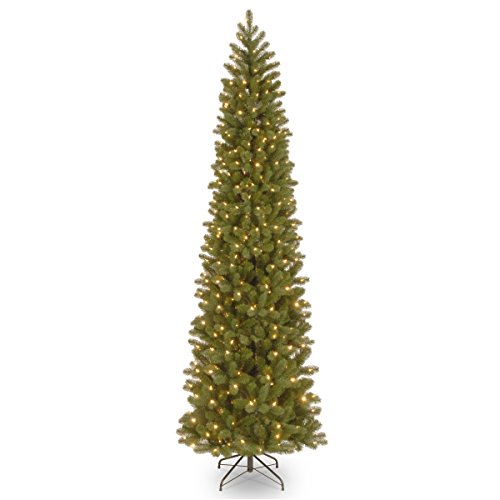National Tree Company 'Feel Real lit Artificial Christmas Tree Includes Pre-strung White Lights Downswept Douglas Fir Pencil Slim-9 ft