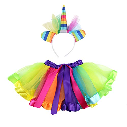 Toyvian Disfraz de Unicornio para niñas Faldas de tutú de Arco Iris de niñas pequeñas con Diadema de Cuerno de Unicornio Fiesta de Disfraces de Unicornio (tamaño L Adecuado para 6-10 años)