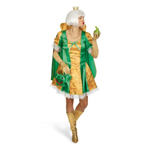 Elbenwald Kostüm Kleid glänzende Märchen Königin Prinzessin Froschkönigin Karneval Damenkostüm mit knöpfbarem Umhang - 32/34
