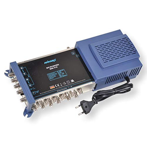 Ankaro Multischalter SEM 5/12 für den Empfang Einer Satellitenposition an bis zu 12 Teilnehmer / 4K, 3D, UHD tauglich/Quattro und Quad LNC geeignet