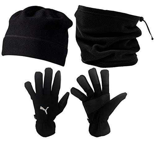Set d'hiver 3 pièces JAKO avec bonnet, snood et gants pour homme - Idéal pour joueur de football - Noir, Noir , 8