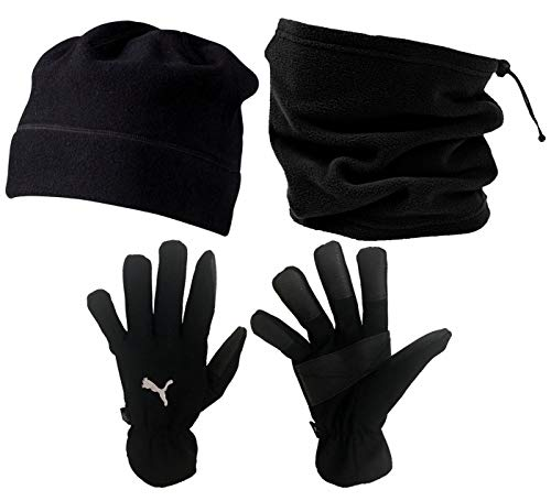 Sportswear Kingdom Fleece Mütze Schlauchschal Handschuhe Herbst Winter Set (Schwarz, 7)