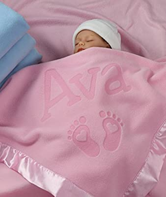 Custom Catch Personalized Newborn Gift Baby Blanket for Girl - Name with Infant Heart Feet Design - Pink or Blue (1 Line Text) from Custom Catch
