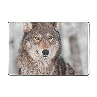 動物 狼 カーペット ラグ 91×60cm 洗える 滑り止め付 1年中使えるタイプ 床暖房 ふわっと手触り