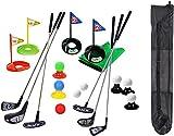 Juego portátil de palos de golf para niños, alfombrilla de bandera de juguete, pelotas de práctica de golf, 29 piezas, juego de golf deportivo para interiores y exteriores para niños con mochila