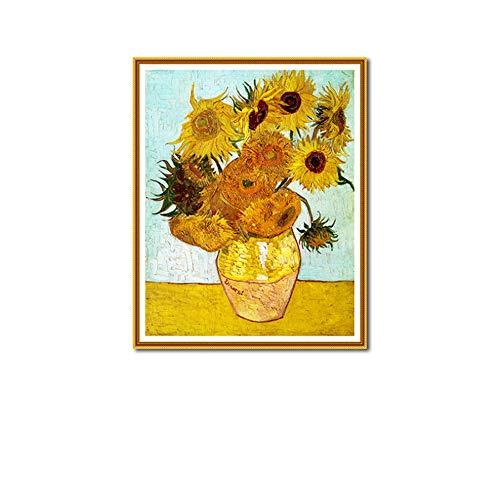 HYFBH Estilo nórdico Hermoso Girasoles Amarillos Lienzo Pintura Carteles e Impresiones Cuadros de Pared para la decoración de la Sala de Estar 60x80cm (23.6