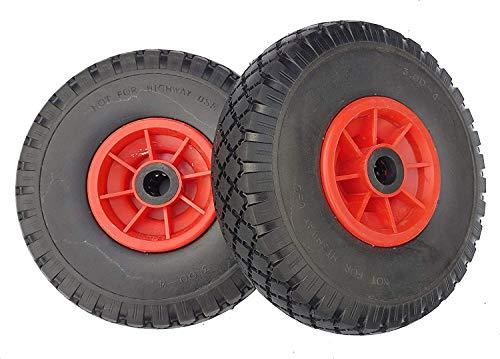 2 x Frosal PU Rad Sackkarre 260 mm 3.00-4 | 25 mm Achse | Sackkarrenrad Vollgummi | Ersatzrad Bollerwagen pannensicher | Reifen