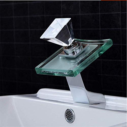 Faucet Sink Faucet Cold Bathroom Mixer Colour LED Faucet Glass Waterfall Bathroom Sink Vessel Faucet CKMK3090