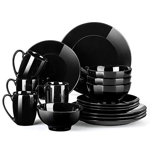 Tafelservice porzellan, LOVECASA SWEET 16-teiliges Kombiservice bunt, Ess Geschirrset für 4 Personen | Speiseteller, Tassen, Dessertteller und Schüsseln