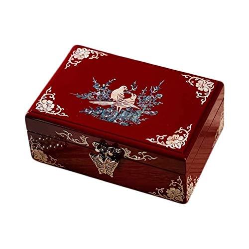 LSLS Caja joyero Clasificación con diseños de Acento Floral, Pendientes y Anillos Caja de joyería Vintage Caja Organizador de Joyas