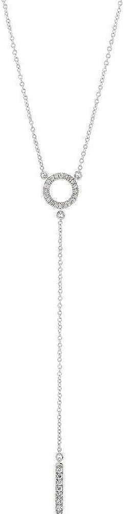 1/6 Cttw Diamond Circle Bar Y Charm Pendant Chain Necklace Adjustable 16