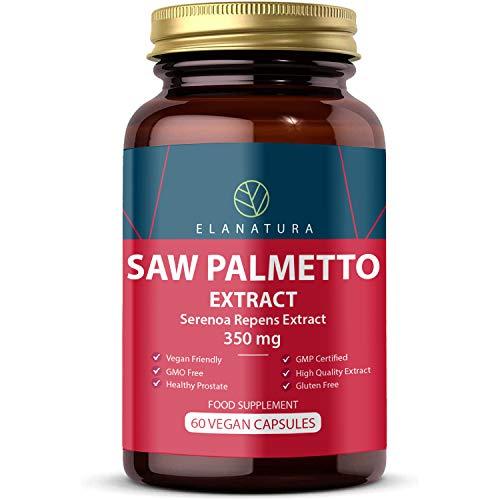 Sägepalmenextrakt Kapseln 350 mg (Saw Palmetto extrakt 20:1) | Prostata-Nahrungsergänzungsmittel, 60 Vegane Kapseln | Milch, Gluten und Allergen Frei