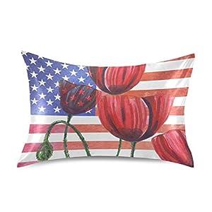 Naivey Satin Pillowcase for Hair and Skin American Flag Flower Poppy Silk Pillowcase No Zipper Slip Pillowcase Silk Standard Size Pillow Cases Pillowcases 20x26in