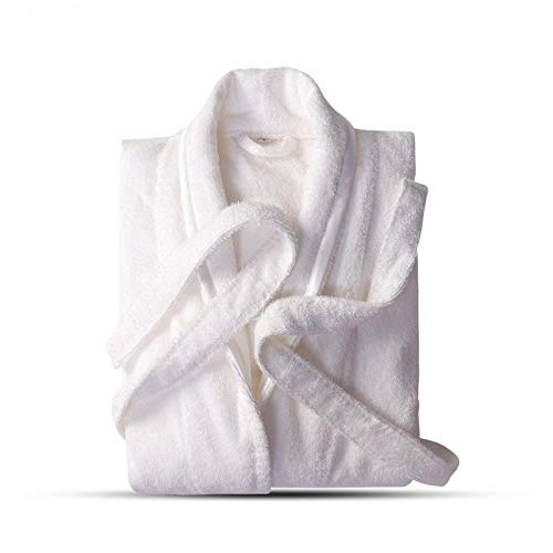 BKHBJ YUP - Albornoz de algodón puro para los amantes de las batas azules, bata de baño para hombre y mujer, toalla sólida, bata larga para dormir (color: hombre y mujer, bata blanca, talla: M)