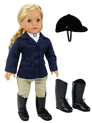 18 inch Doll Horse Riding Outfit, 5 Piece Complete Navy Equestrian Set fits 18 Inch American Girl Dolls & More! Includes Boots and Helmet  Doll Sold Separately